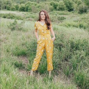 288831ce2b2 piper and scoot Pants - The Coleman Floral Jumpsuit im Mustard